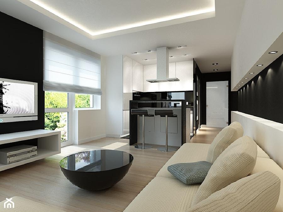 Biało czarna kuchnia  zdjęcie od Studio Aranżacja