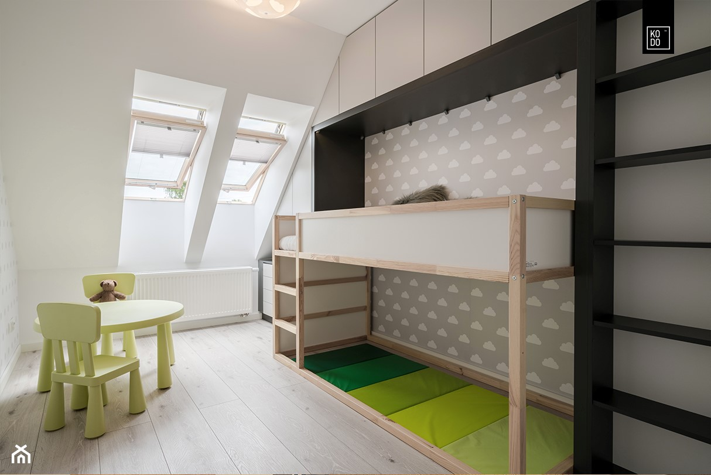 OSIEDLE PRZY ZAMKU WROCŁAW - Średni biały szary pokój dziecka dla chłopca dla dziewczynki dla ucznia dla malucha, styl nowoczesny - zdjęcie od KODO projekty i realizacje wnętrz - Homebook