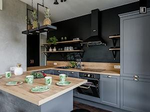 LIROWA - STYL LOFT - Średnia otwarta beżowa czarna kuchnia w kształcie litery u w aneksie, styl industrialny - zdjęcie od KODO projekty i realizacje wnętrz
