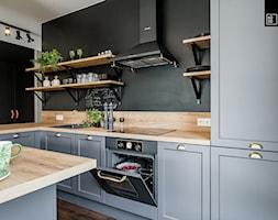 LIROWA - STYL LOFT - Średnia otwarta szara kuchnia w kształcie litery u, styl industrialny - zdjęcie od KODO projekty i realizacje wnętrz