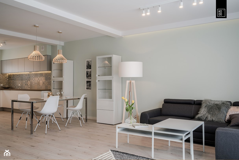 OSIEDLE PRZY ZAMKU WROCŁAW - Średni zielony salon z kuchnią z jadalnią, styl nowoczesny - zdjęcie od KODO projekty i realizacje wnętrz - Homebook