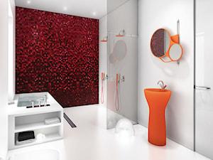 THESPIAN APARTMENTS - WNĘTRZA DLA WYMAGAJĄCYCH - Czerwona łazienka, styl nowoczesny - zdjęcie od KODO projekty i realizacje wnętrz