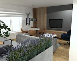 K jak Kawaler - Średni szary biały salon z kuchnią z jadalnią, styl minimalistyczny - zdjęcie od Patrycja Grych