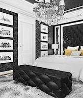 Czarno-biała sypialnia - projektowanie wnętrz. - zdjęcie od ArtCore Design