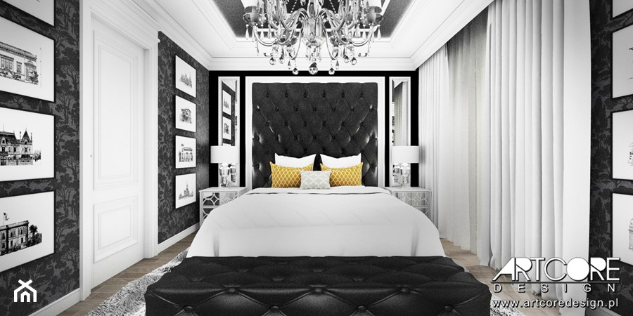 Projekt wnętrza sypialni glamour. - zdjęcie od ArtCore Design