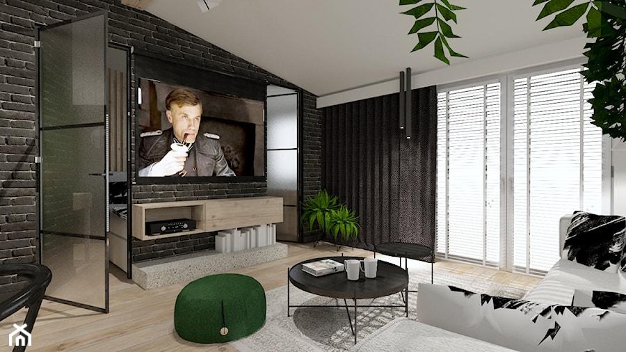 Skandynawskie mieszkanie dla mężczyzny - Duży szary salon z jadalnią z tarasem / balkonem, styl industrialny - zdjęcie od Bubbles Studio