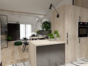Skandynawskie mieszkanie dla mężczyzny - Średnia otwarta szara kuchnia w kształcie litery g w aneksie, styl industrialny - zdjęcie od Bubbles Studio