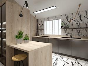 Skandynawskie mieszkanie dla mężczyzny - Średnia otwarta biała kuchnia dwurzędowa z oknem, styl industrialny - zdjęcie od Bubbles Studio