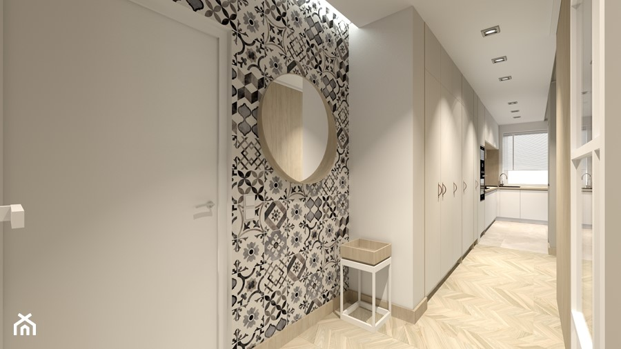 Świetliste mieszkanie z nutką energii - Duży czarny szary hol / przedpokój, styl skandynawski - zdjęcie od Bubbles Studio