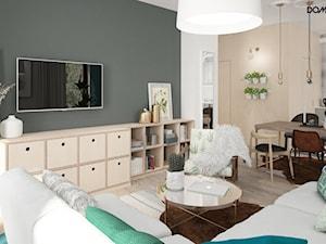 Zielono mi - Średni szary brązowy salon z jadalnią, styl eklektyczny - zdjęcie od DOMagała Design
