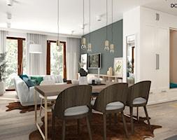 Zielono mi - Średnia otwarta biała szara jadalnia w kuchni w salonie, styl vintage - zdjęcie od DOMagała Design