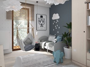 Zielono mi - Średni biały szary pokój dziecka dla chłopca dla nastolatka, styl skandynawski - zdjęcie od DOMagała Design