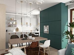 Zielono mi - Średnia otwarta beżowa jadalnia w kuchni, styl eklektyczny - zdjęcie od DOMagała Design