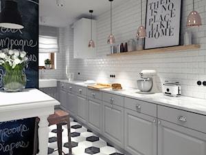 BIAŁYSZARYCZARNY - Duża otwarta wąska biała kuchnia jednorzędowa w aneksie, styl skandynawski - zdjęcie od DOMagała Design