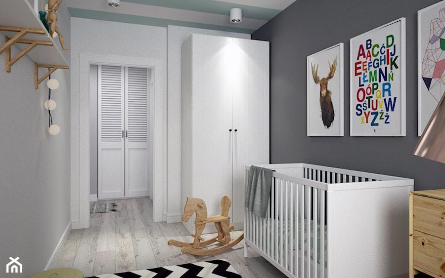 Aranżacje wnętrz - Pokój dziecka: BIAŁYSZARYCZARNY - Średni szary pokój dziecka dla chłopca dla dziewczynki dla niemowlaka, styl skandynawski - DOMagała Design. Przeglądaj, dodawaj i zapisuj najlepsze zdjęcia, pomysły i inspiracje designerskie. W bazie mamy już prawie milion fotografii!