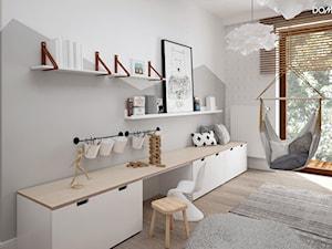 Zielono mi - Średni biały szary pokój dziecka dla dziewczynki dla nastolatka, styl skandynawski - zdjęcie od DOMagała Design