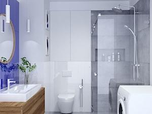 Łazienka z kobaltowym akcentem - Średnia biała fioletowa łazienka, styl nowoczesny - zdjęcie od Anna Freier Architektura Wnętrz