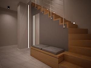 Średnie wąskie schody zabiegowe wachlarzowe drewniane betonowe, styl nowoczesny - zdjęcie od nowaconcept