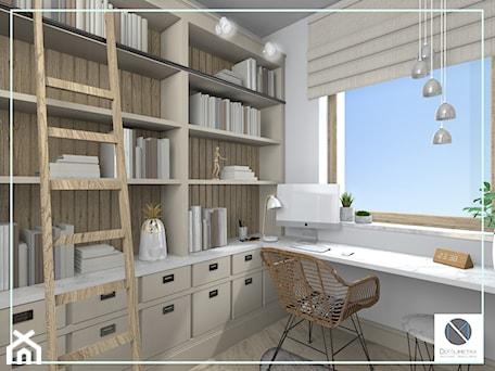 Aranżacje wnętrz - Biuro: Domowe biuro z naturalnym światłem - DoMilimetra. Przeglądaj, dodawaj i zapisuj najlepsze zdjęcia, pomysły i inspiracje designerskie. W bazie mamy już prawie milion fotografii!