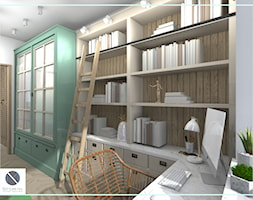 Półki biblioteczne z drabiną - biuro domowe - zdjęcie od DoMilimetra - Homebook