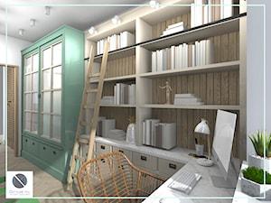 Półki biblioteczne z drabiną - biuro domowe - zdjęcie od DoMilimetra