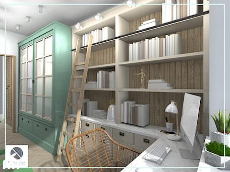 Aranżacje wnętrz - Biuro: Półki biblioteczne z drabiną - biuro domowe - DoMilimetra. Przeglądaj, dodawaj i zapisuj najlepsze zdjęcia, pomysły i inspiracje designerskie. W bazie mamy już prawie milion fotografii!