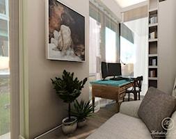 PARIS - Średnie beżowe biuro kącik do pracy w pokoju, styl prowansalski - zdjęcie od Kołodziej & Szmyt