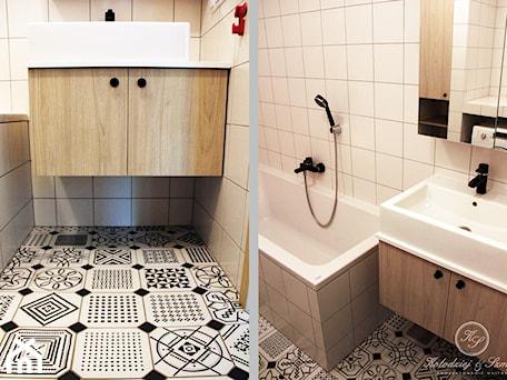 TAIWAN - Mała beżowa łazienka w bloku bez okna, styl eklektyczny - zdjęcie od Kołodziej & Szmyt