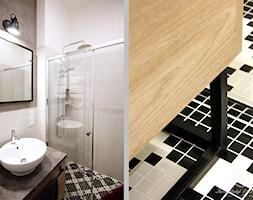 KONESER - Mała biała szara łazienka w bloku w domu jednorodzinnym bez okna, styl industrialny - zdjęcie od Kołodziej & Szmyt