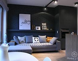 GREY II - Mały biały czarny salon z kuchnią z jadalnią, styl nowoczesny - zdjęcie od Kołodziej & Szmyt