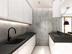 WARM CONCRETE - Średnia otwarta szara kuchnia dwurzędowa w aneksie z oknem, styl nowoczesny - zdjęcie od Kołodziej & Szmyt