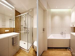 THREE COLOURS - Mała biała łazienka w bloku w domu jednorodzinnym bez okna, styl nowoczesny - zdjęcie od Kołodziej & Szmyt