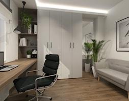 DOMOWE BIURO - Średnie białe biuro domowe kącik do pracy w pokoju, styl minimalistyczny - zdjęcie od ARCHI PL Pracownia architektury i wnętrz Szymon Pleszczak & Marta Głuszek
