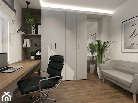 Aranżacje wnętrz - Biuro: DOMOWE BIURO - Średnie białe biuro domowe kącik do pracy w pokoju, styl minimalistyczny - ARCHI PL architekci. Przeglądaj, dodawaj i zapisuj najlepsze zdjęcia, pomysły i inspiracje designerskie. W bazie mamy już prawie milion fotografii!