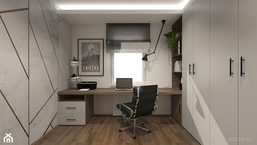 DOMOWE BIURO - Średnie szare białe biuro domowe w pokoju, styl minimalistyczny - zdjęcie od ARCHI PL Pracownia architektury i wnętrz Szymon Pleszczak & Marta Głuszek