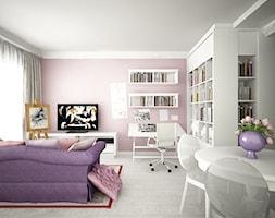 Mieszkanie na ul. Jedności Narodowej - Mały biały różowy salon z bibiloteczką z jadalnią, styl prowansalski - zdjęcie od ESSA Architektura