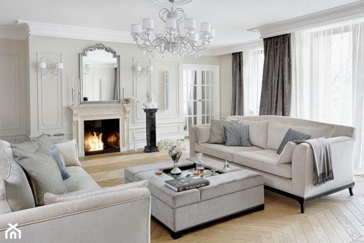 Apartament - Mokotów - Duży biały salon, styl klasyczny - zdjęcie od Casamila Architekci s.c. - Homebook