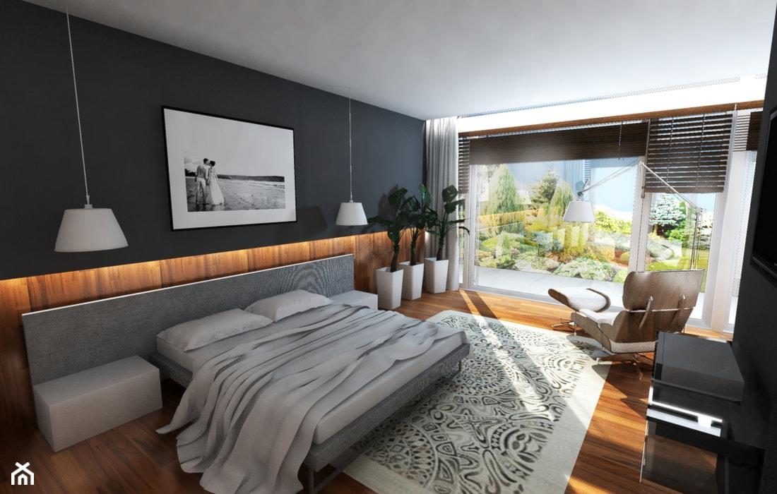 Duża czarna sypialnia małżeńska z balkonem / tarasem, styl nowoczesny - zdjęcie od Dorota Świątkowska - Homebook