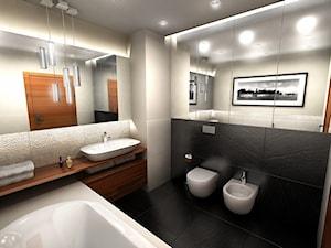 Średnia biała beżowa czarna łazienka, styl nowoczesny - zdjęcie od Coco design studio
