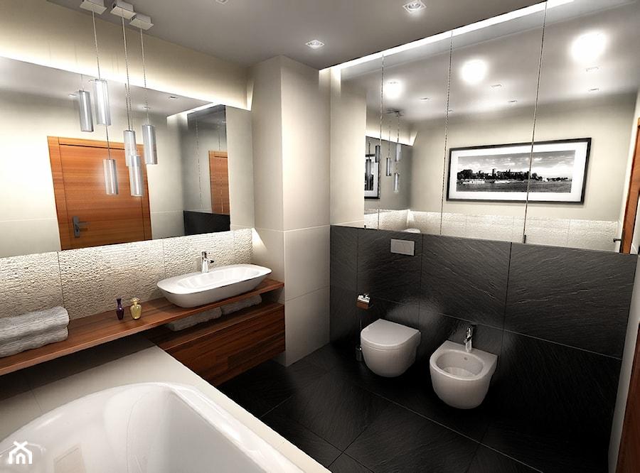 Średnia biała beżowa czarna łazienka, styl nowoczesny - zdjęcie od Dorota Świątkowska