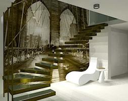 dom jednorodzinny - Średnie wąskie schody wachlarzowe kamienne, styl nowoczesny - zdjęcie od IZEdesign
