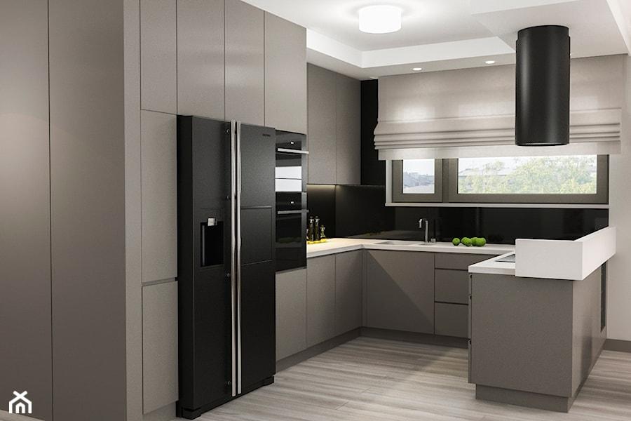Projekt wnętrz mieszkania - Średnia otwarta biała czarna kuchnia w kształcie litery u w aneksie z wyspą, styl nowoczesny - zdjęcie od ARCHISSIMA