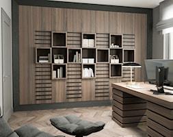 Projekt wnętrz domu - Średnie szare biuro pracownia kącik do pracy w pokoju, styl art deco - zdjęcie od ARCHISSIMA