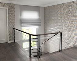 Projekt wnętrz domu - Średnie wąskie schody wachlarzowe drewniane, styl art deco - zdjęcie od ARCHISSIMA