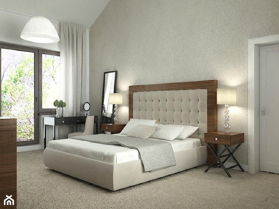 Projekt wnętrz domu_2 - Średnia szara sypialnia małżeńska z balkonem / tarasem, styl nowoczesny - zdjęcie od ARCHISSIMA