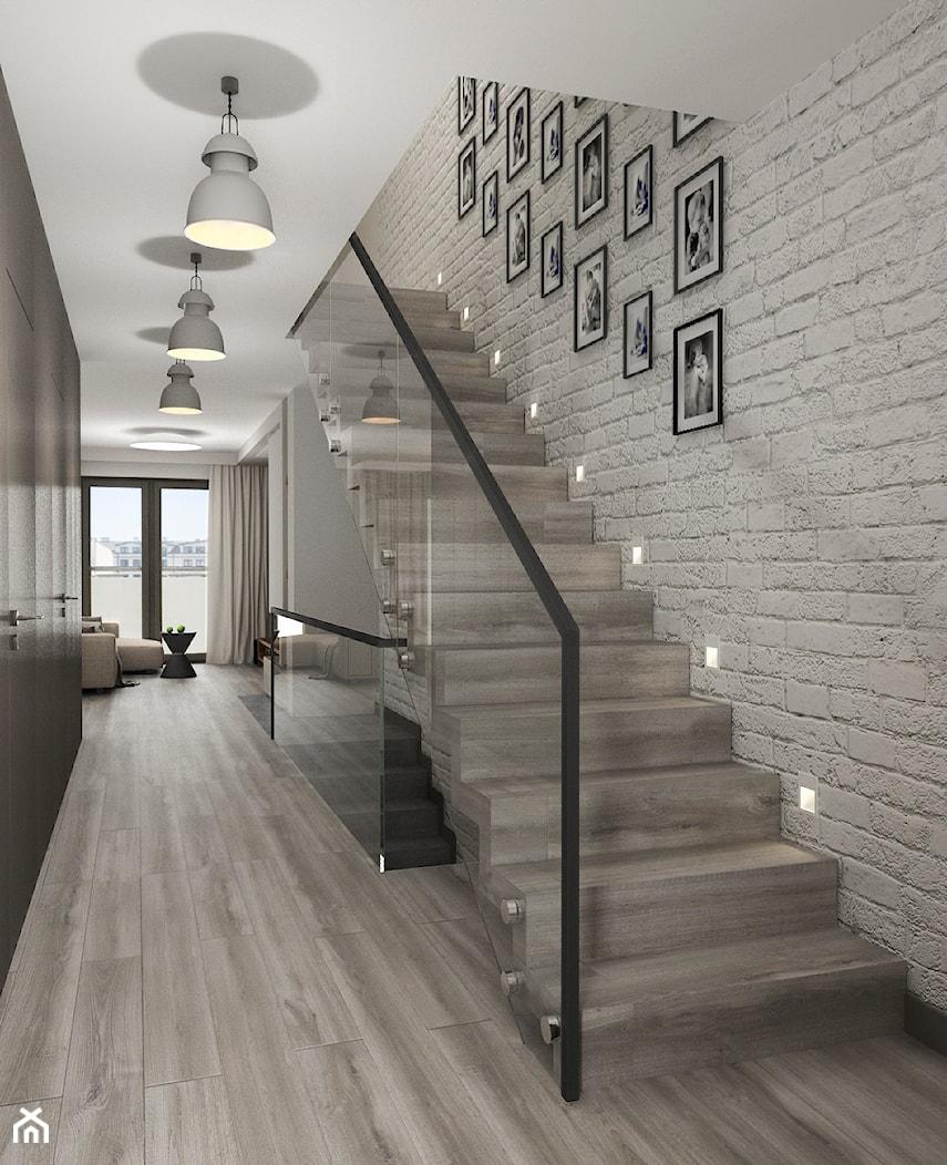 Projekt wnętrz mieszkania - Małe wąskie schody jednobiegowe drewniane, styl nowoczesny - zdjęcie od ARCHISSIMA - Homebook
