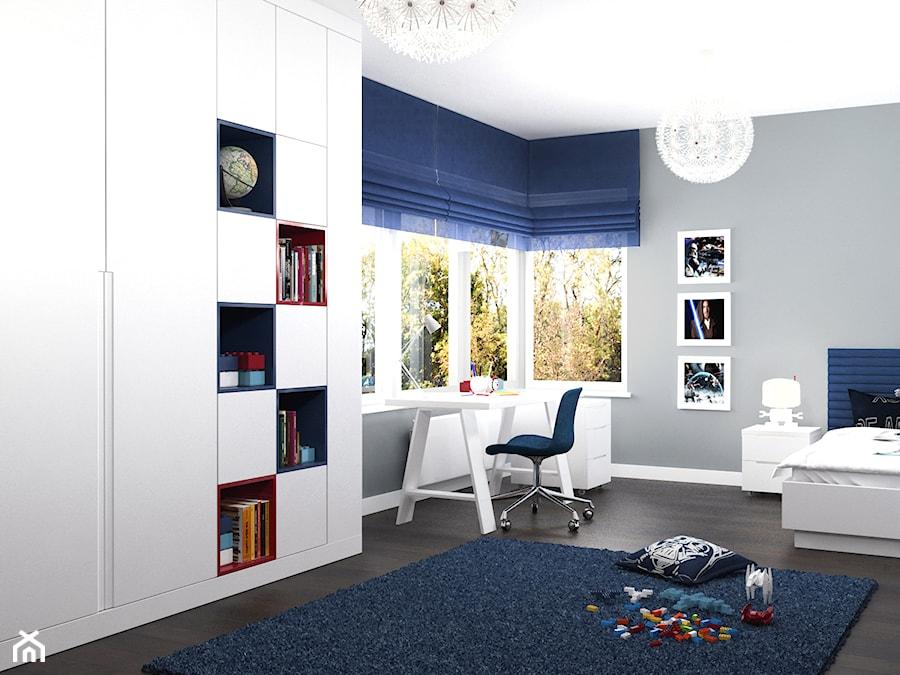 projekt wn trz domu redni szary pok j dziecka dla ch opca dla malucha styl nowoczesny. Black Bedroom Furniture Sets. Home Design Ideas