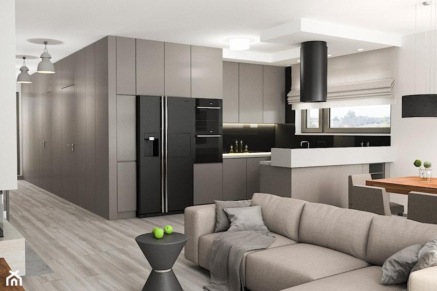 Projekt wnętrz mieszkania - Mały biały salon z kuchnią z jadalnią, styl nowoczesny - zdjęcie od ARCHISSIMA
