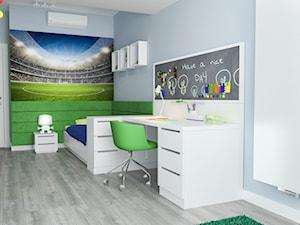 Projekt wnętrz mieszkania - Średni pastelowy niebieski zielony kolorowy pokój dziecka dla chłopca dla nastolatka, styl nowoczesny - zdjęcie od ARCHISSIMA