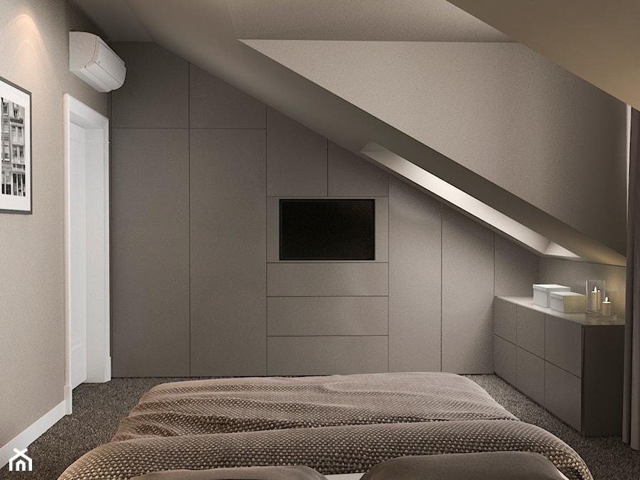 Projekt Wnętrz Mieszkania średnia Beżowa Sypialnia